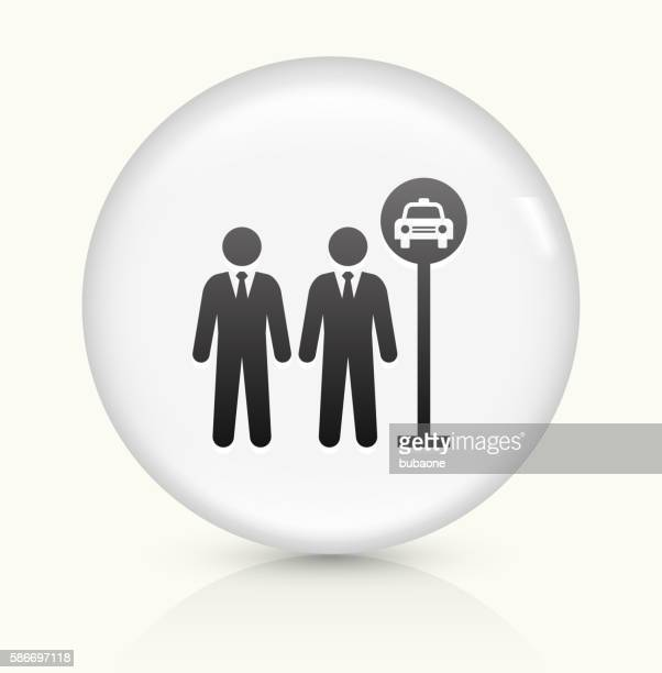 Taxi Stop icon on white round vector button