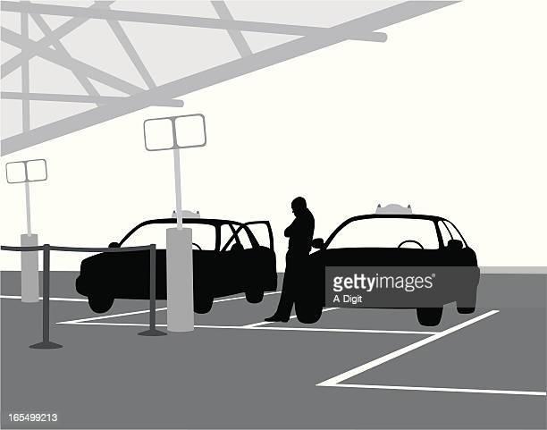 Taxi Stop Vector Silhouette