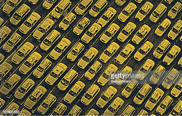 taxi traffic jam - yellow taxi stock illustrations, clip art, cartoons, & icons