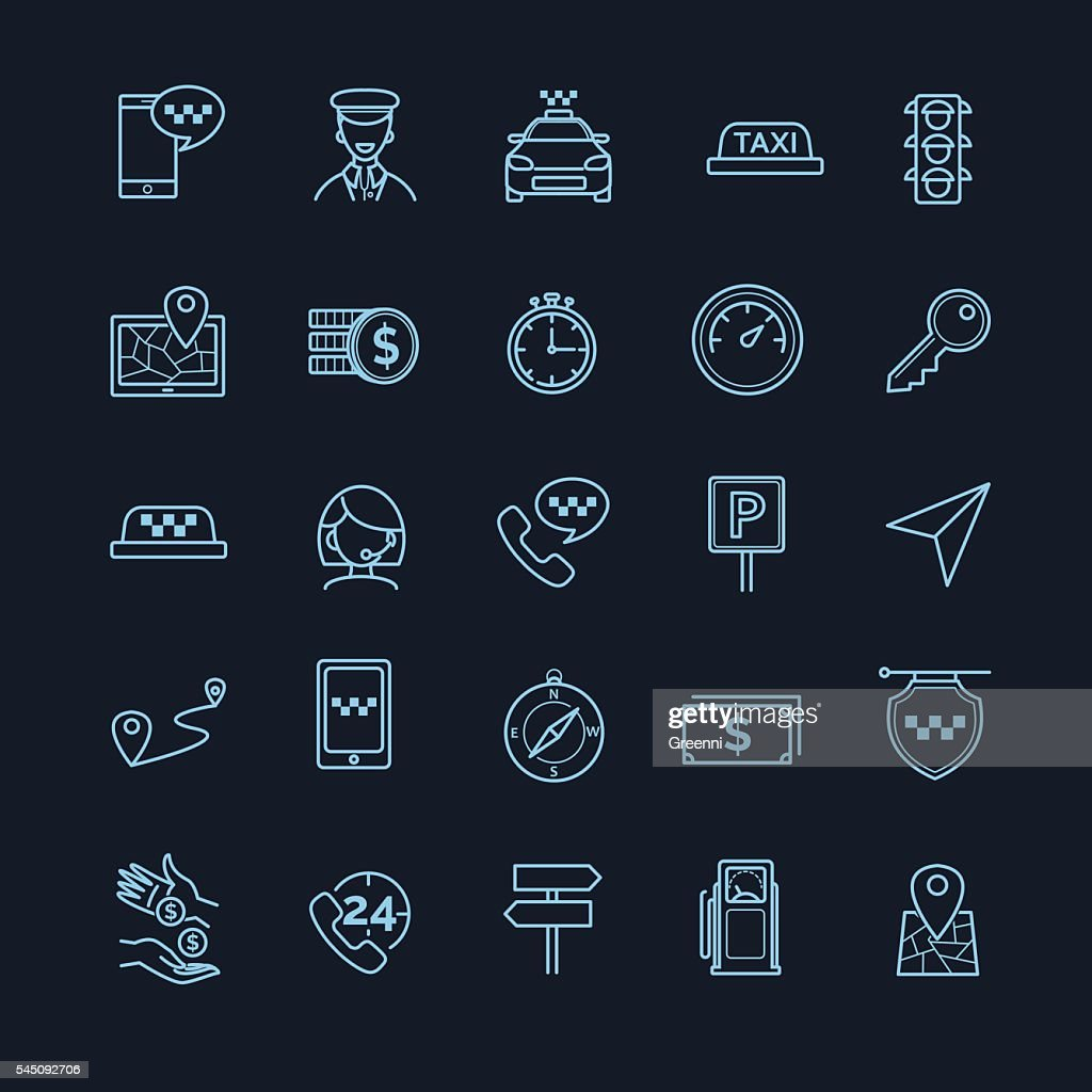 Taxi vector icons set on a black background