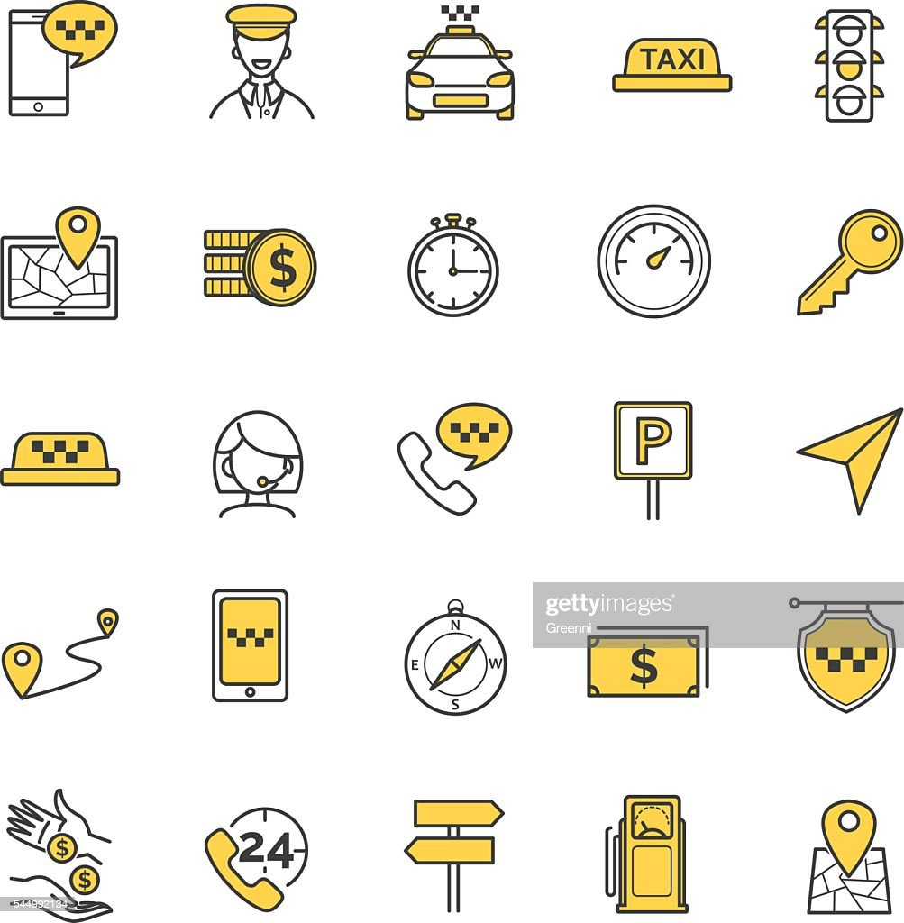 Taxi vector icons set