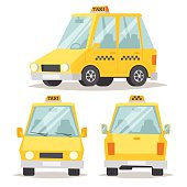 Taxi yellow car flat style vector illustration