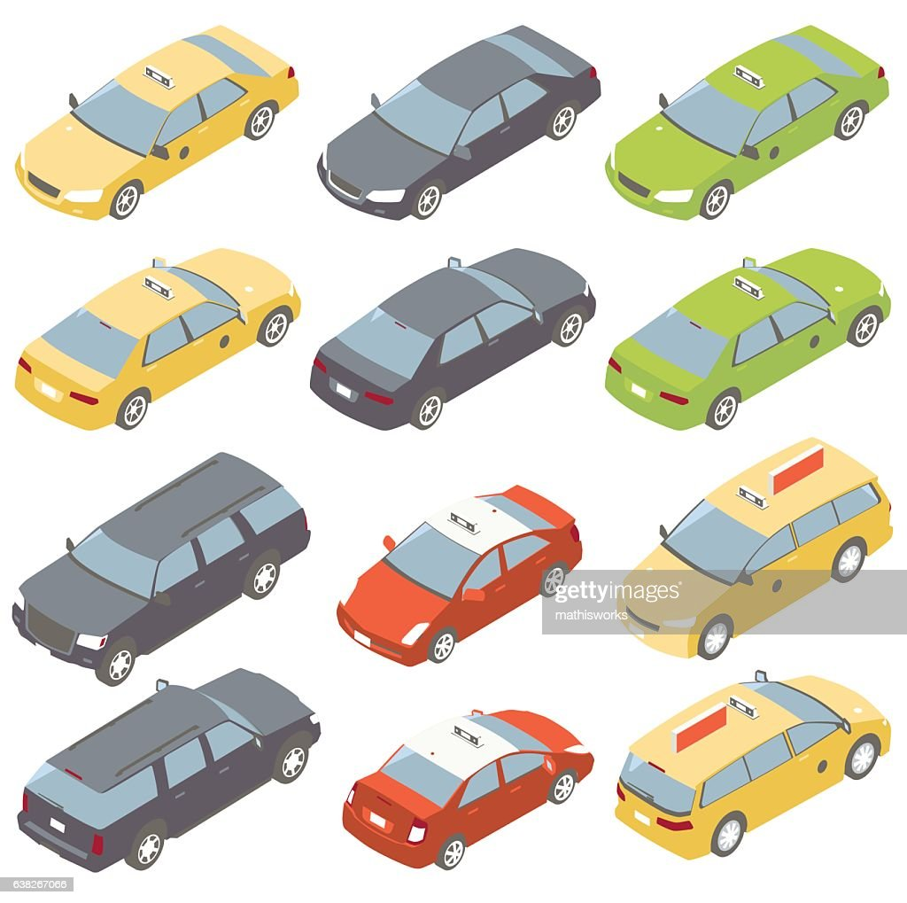 Taxis Isometric Illustration : Vector Art