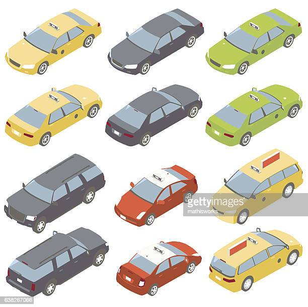Taxis Isometric Illustration