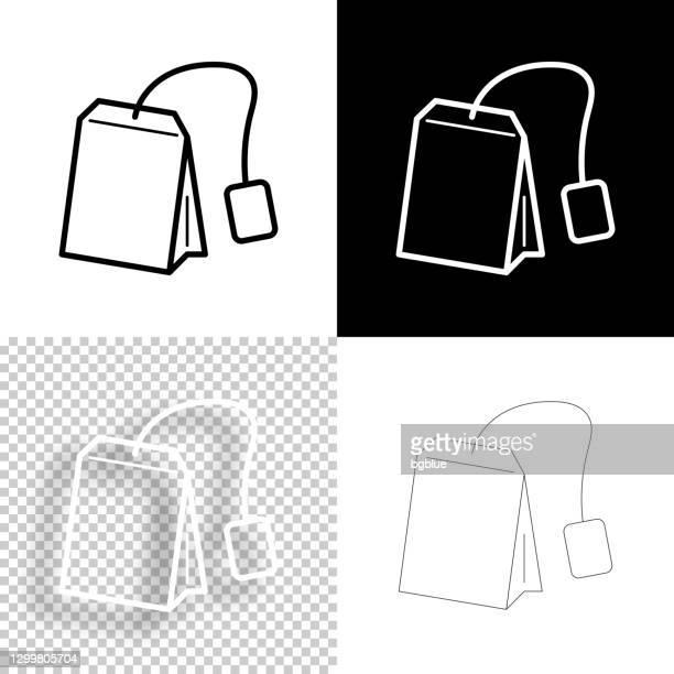 ティーバッグ。デザイン用アイコン。空白、白、黒の背景 - ラインアイコン - ハーブティー点のイラスト素材/クリップアート素材/マンガ素材/アイコン素材
