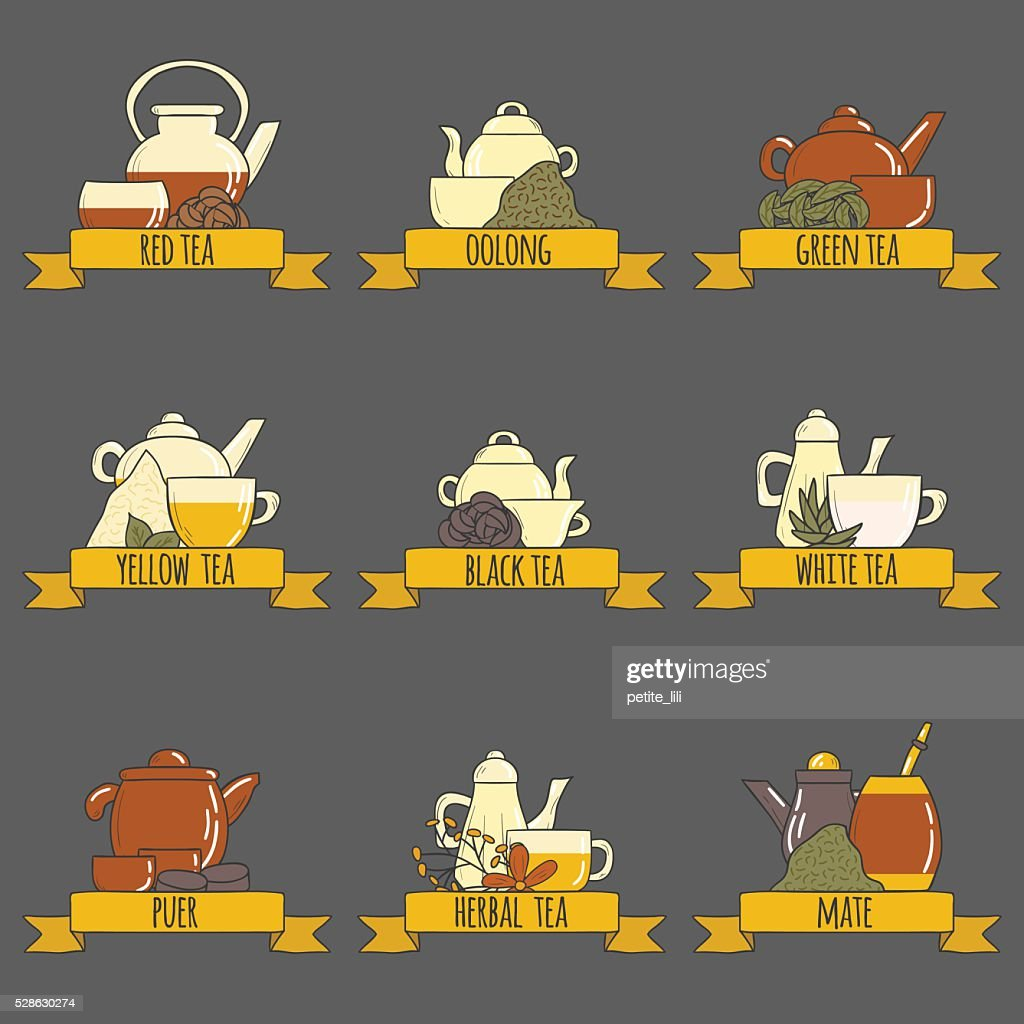 Tea ceremony vector cartoon teapots and cups