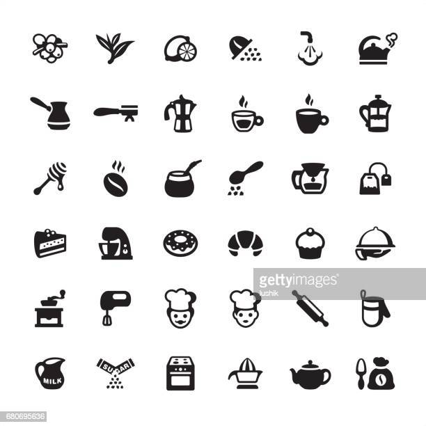 tea, coffee and bakery - icons set - making a cake stock illustrations, clip art, cartoons, & icons