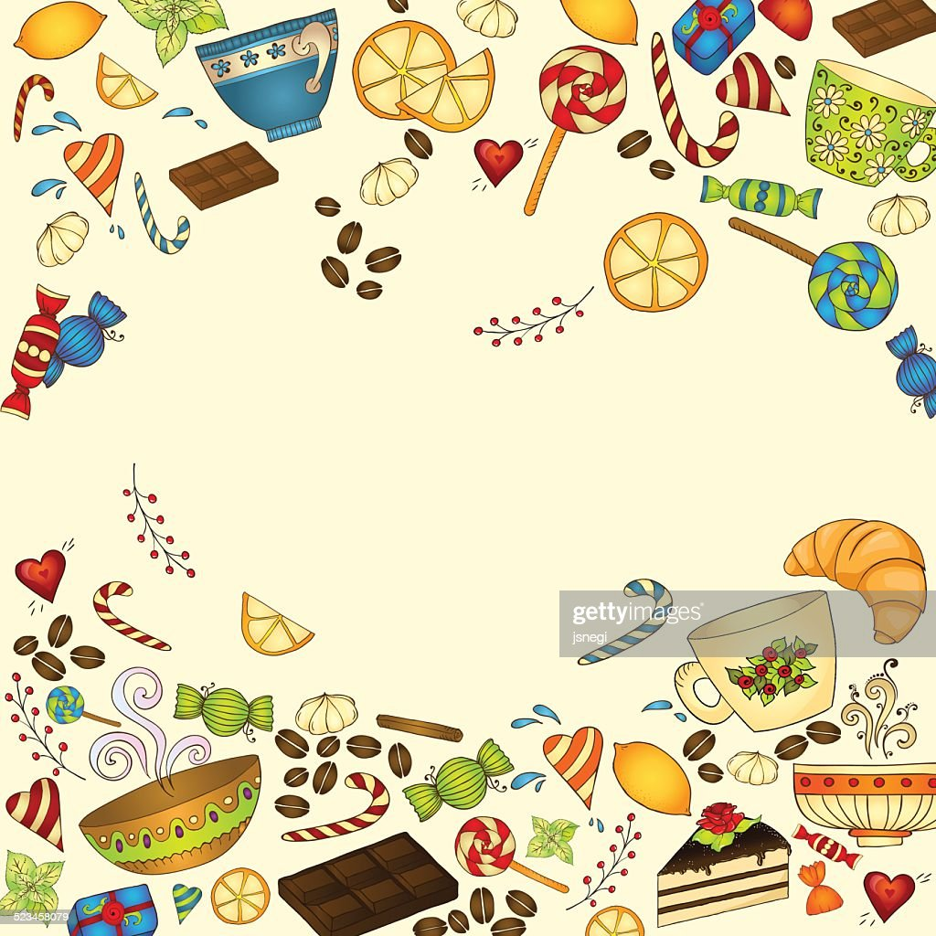 Tea Coffee And Sweets Doodle Template Pattern Vector Art | Getty Images