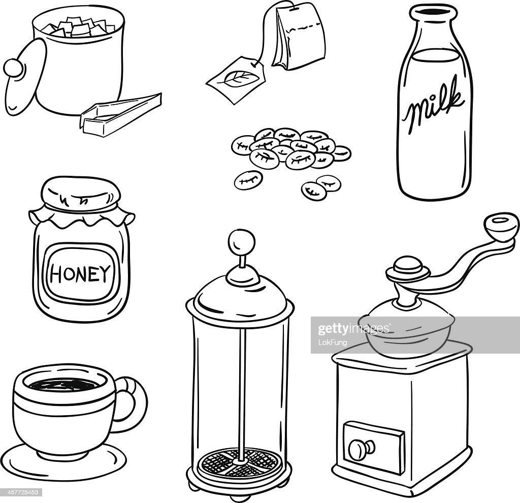 Tea Coffee equipment in black and white : stock illustration