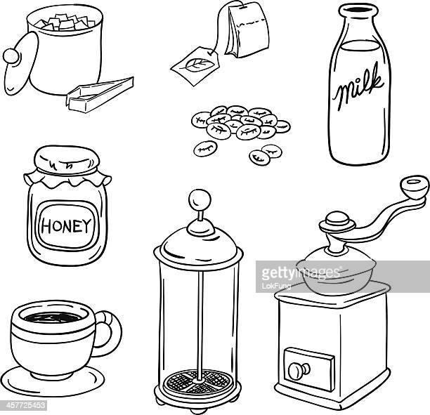 tea coffee equipment in black and white - milk bottle stock illustrations