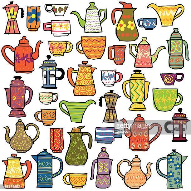 tea coffee pot fair - pottery stock illustrations, clip art, cartoons, & icons