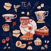 Tea collection vector illustration with teapot, cups, sweets