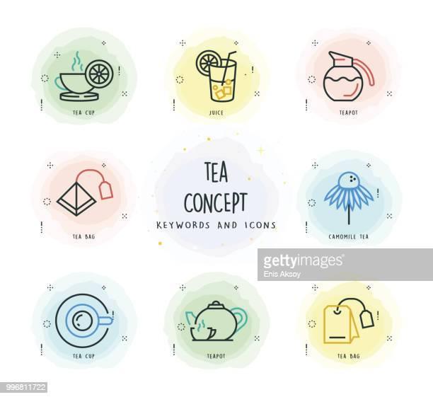 ilustrações de stock, clip art, desenhos animados e ícones de tea concept - mesa cafe da manha