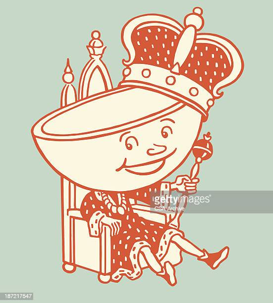 tea cup king - scepter stock illustrations