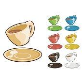 Tea cup set cartoonish