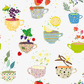 Tea cups seamless pattern with many sorts illustration
