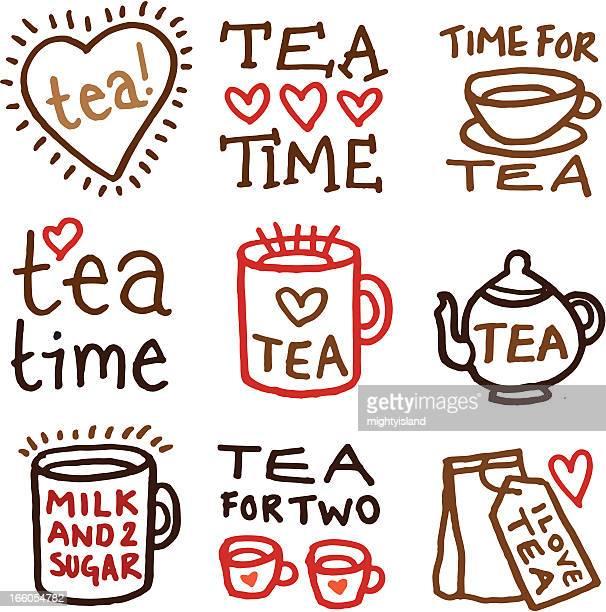 Tea doodle icon set