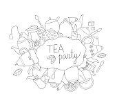 Tea elements black and white vector background