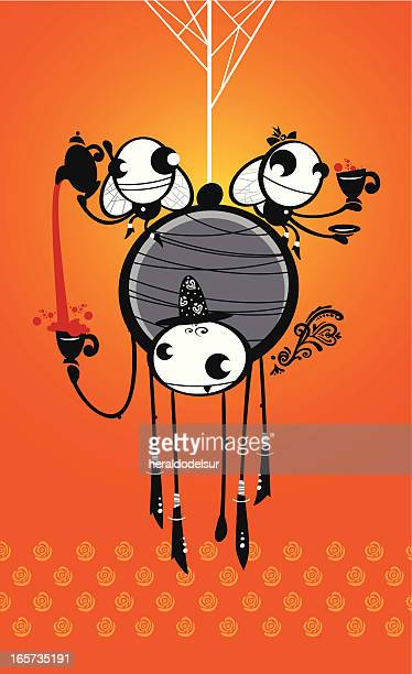 tea hour - black widow spider stock illustrations, clip art, cartoons, & icons