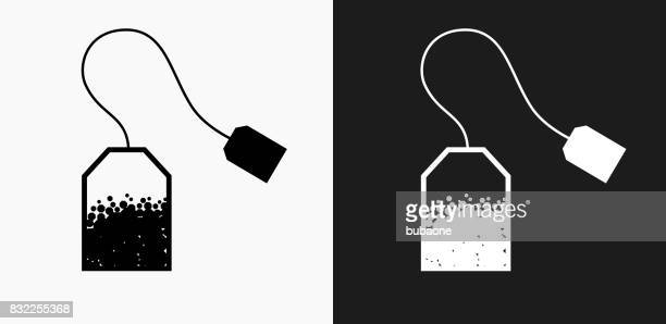 tea icon on black and white vector backgrounds - green tea stock illustrations, clip art, cartoons, & icons