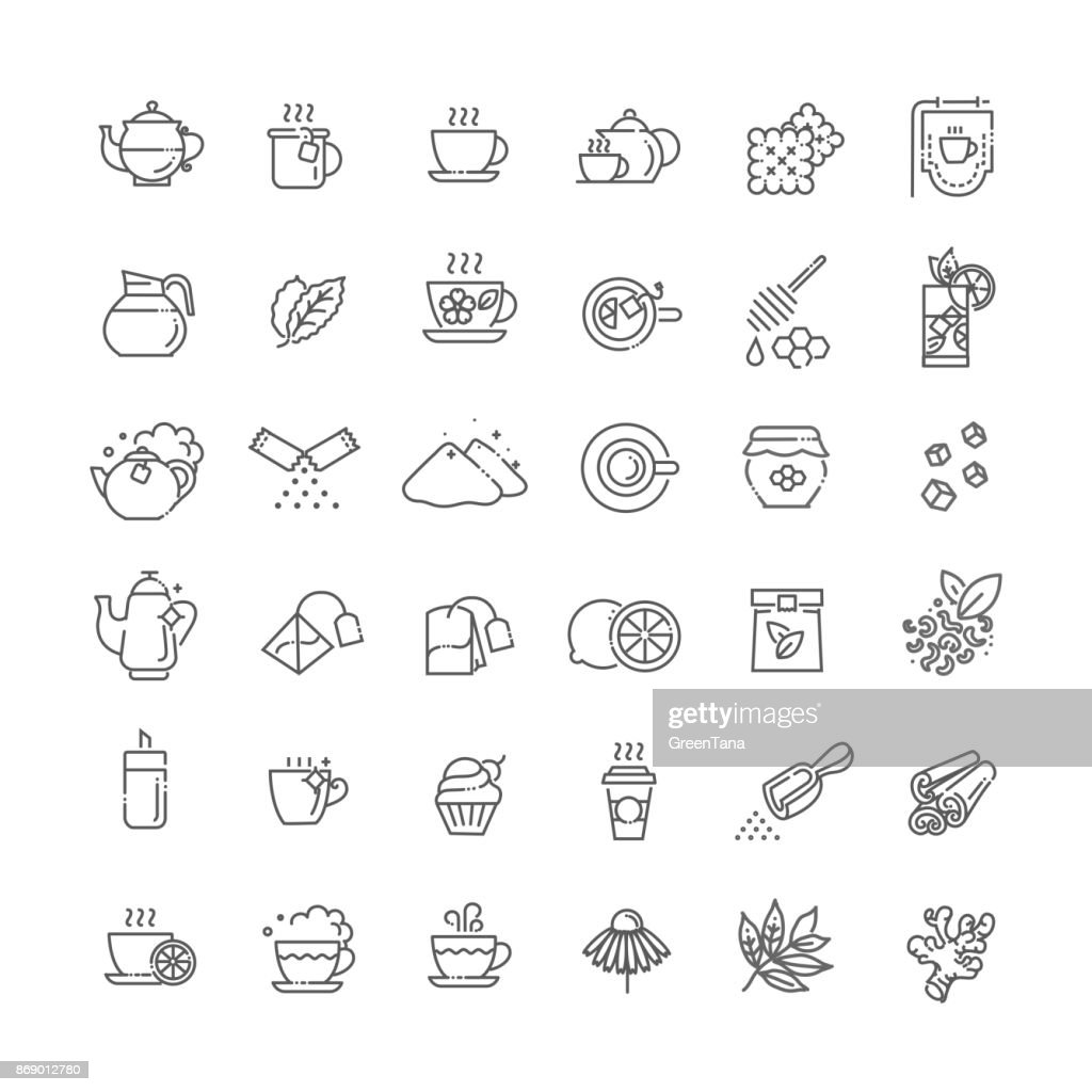 Tea icon set. Thin line vector illustration