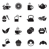 Tea Icons. Black Flat Design. Vector Illustration.