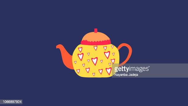 tea kettle with artistic layout icon - afternoon tea stock illustrations, clip art, cartoons, & icons