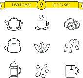 Tea linear icons set