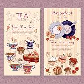 Tea menu design, package time for tea and teapot