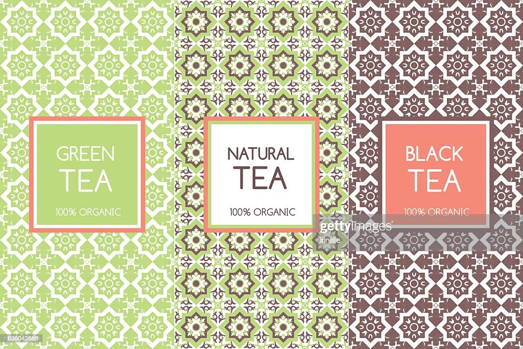 Tea packaging templates vector