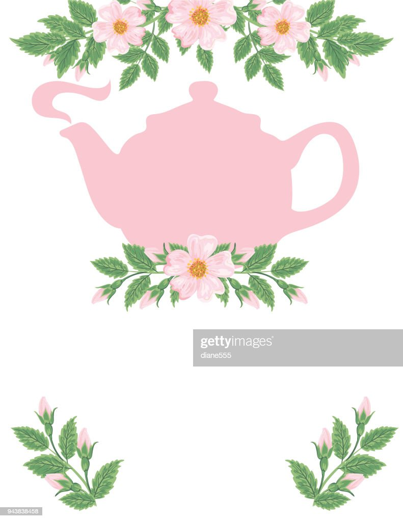 Tea Party and Wild Roses Backgorund : stock illustration