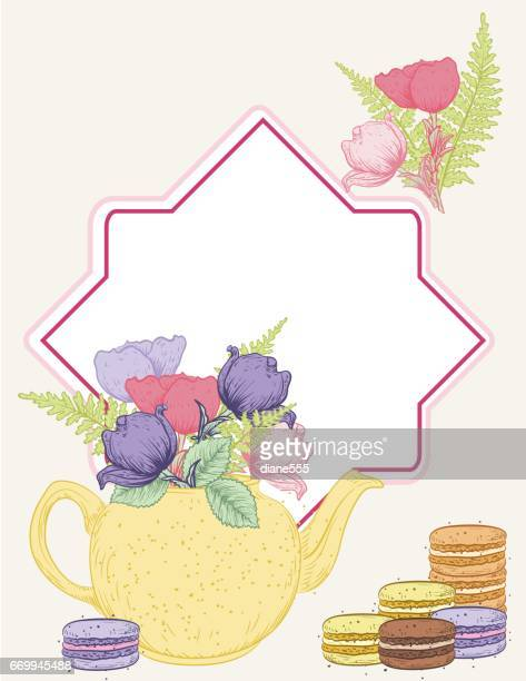 Tea Party Background With Blank Frame For Text