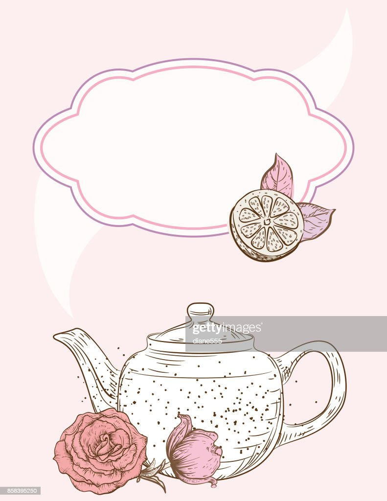Tea Party Background With Blank Frame For Text : stock illustration
