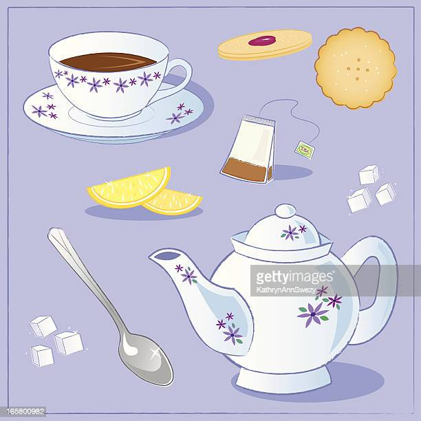 tea party collection - sugar cube stock illustrations, clip art, cartoons, & icons