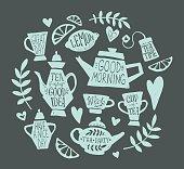 Tea party doodle set
