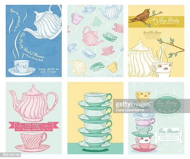Tea Party Invitation Template Set