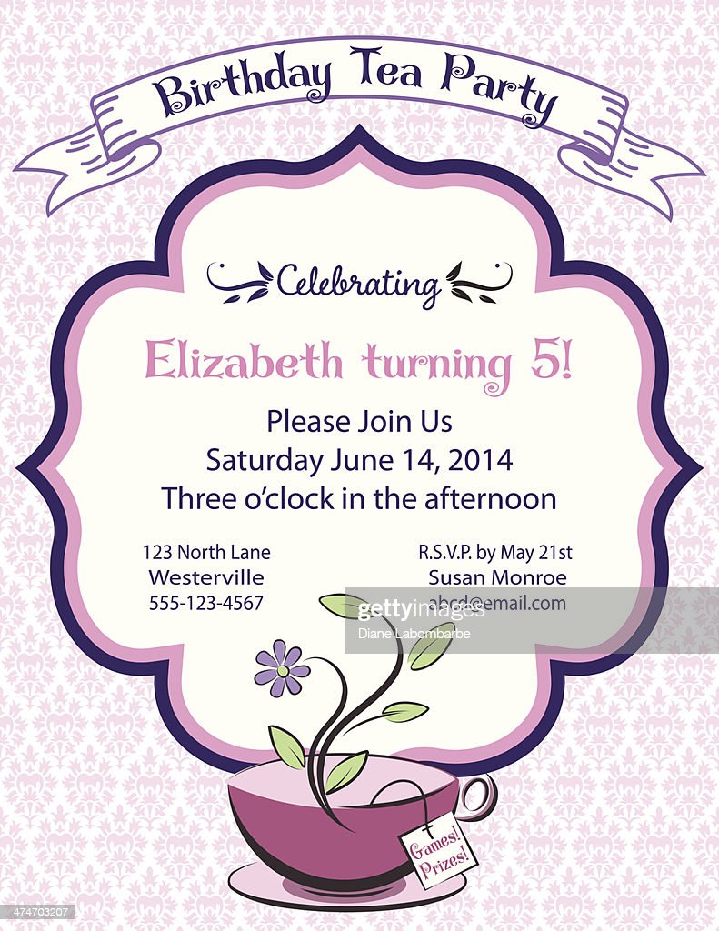 tea party invitation template vector art getty images
