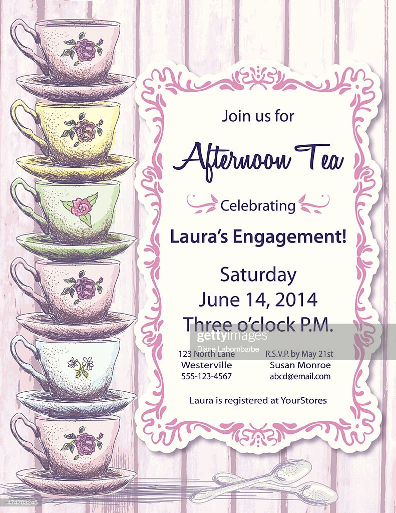 Tea Party Invitation Template Set Vector Art | Getty Images