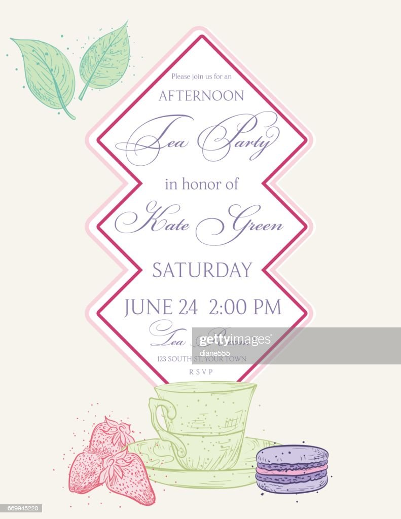 Tea Party Invitation Template With Text Frame Stock