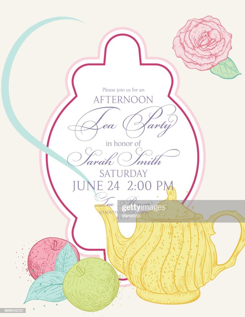tea party invitation template with text frame vector art getty images