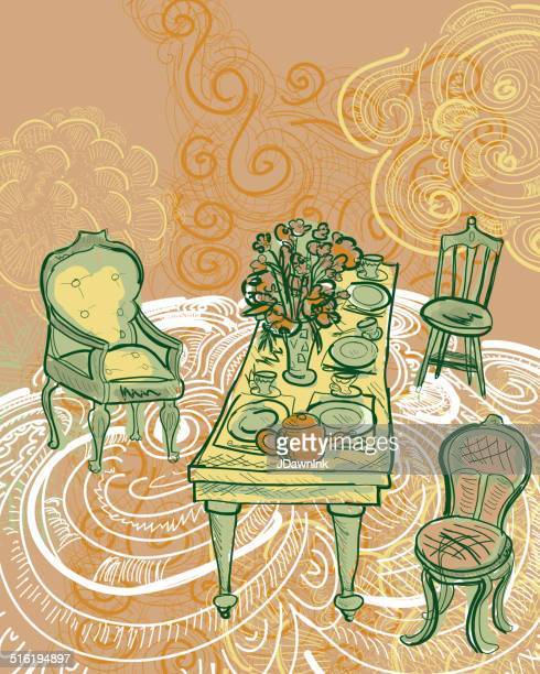 tea party table and chair scene - saucer stock illustrations