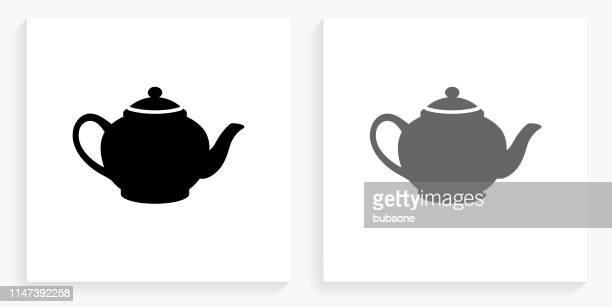 ティーポット黒と白の正方形のアイコン - ティーポット点のイラスト素材/クリップアート素材/マンガ素材/アイコン素材