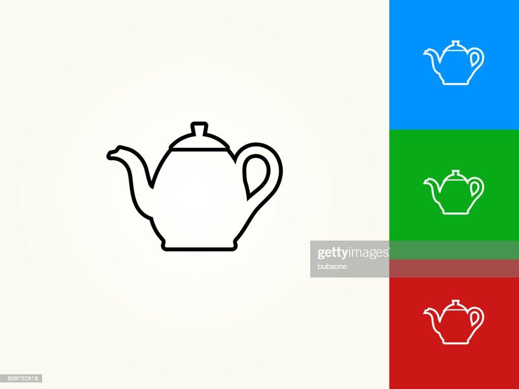 Tea Pot Black Stroke Linear Icon : stock illustration