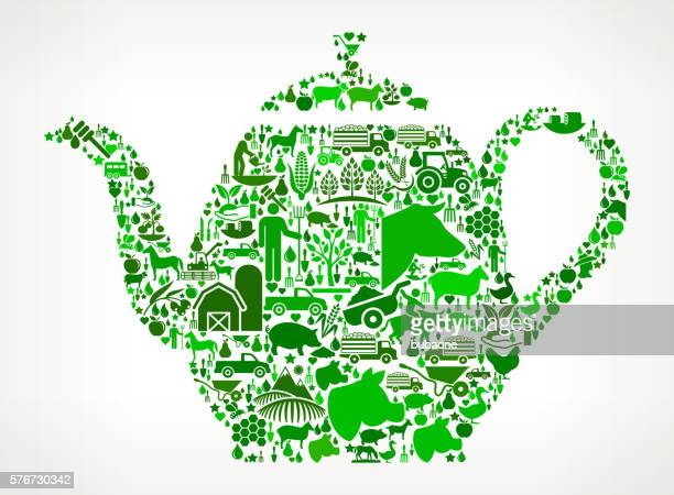 Tea Pot Farming and Agriculture Green Icon Pattern