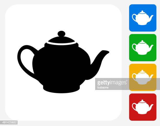 tea pot icon flat graphic design - steeping stock illustrations, clip art, cartoons, & icons