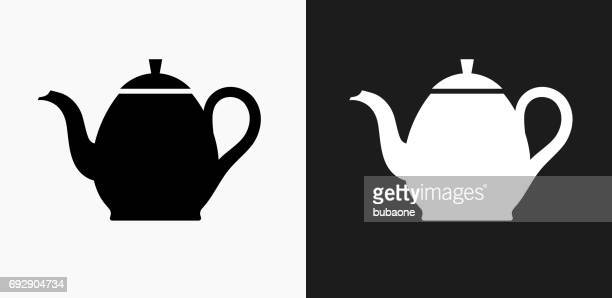 Tea Pot Icon on Black and White Vector Backgrounds