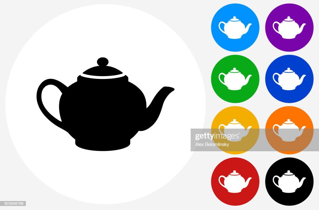Tea Pot Icon on Flat Color Circle Buttons : stock illustration