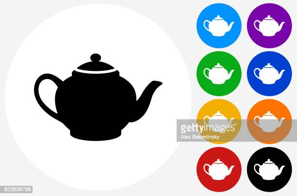 Tea Pot Icon on Flat Color Circle Buttons