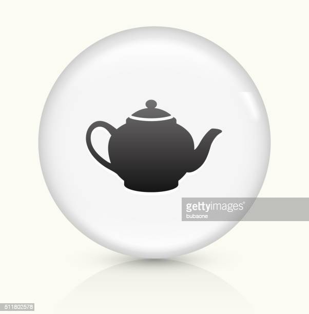 tea pot icon on white round vector button - steeping stock illustrations, clip art, cartoons, & icons