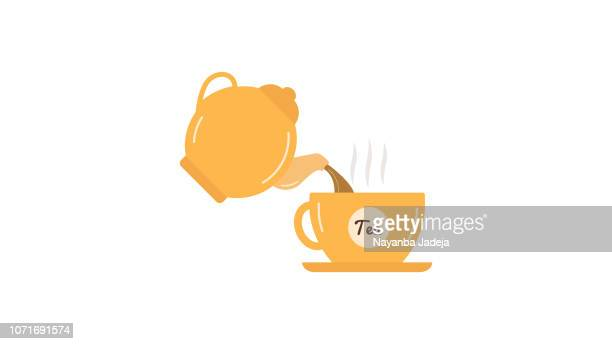 Tea pouring cup kettle icon